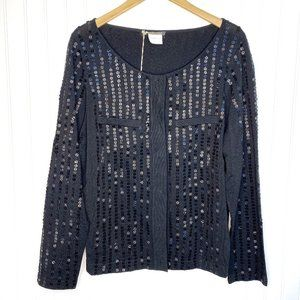 Marina Rinaldi Black Sequin Knit Jacket Cardigan